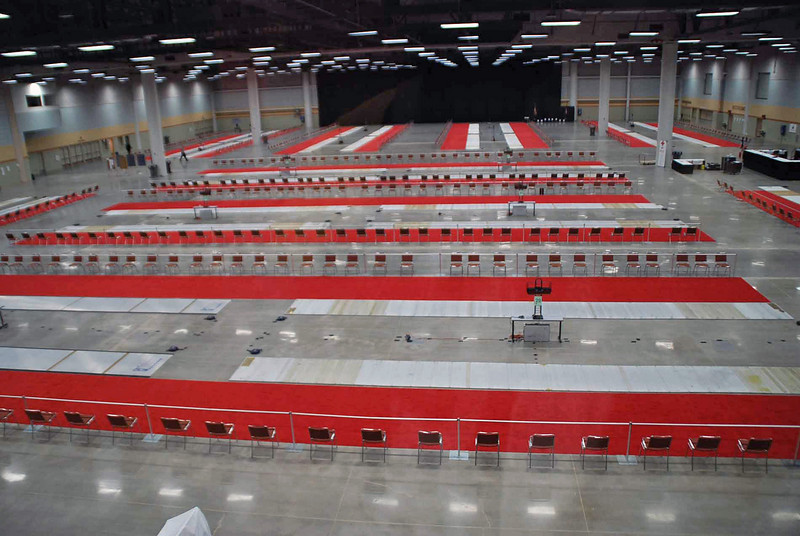 The venue at the Des Moines Convention Center, without fencers.