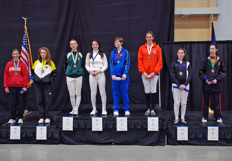 The finalists in Division III Women's Epee.  From left: Sarah Timmons (7th), Ella Barnes (5th), Haley Hart (3rd), Helen Foster (1st), Alexandra Dickinson (2nd), Julia Ferguson (3rd), Hailey Huddleston (6th), and Laura Jarin-Lipschitz (8th).