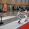 Olivia Morreale (left) fences her DE in the Division III Women's Epee against Sarah Caputo.