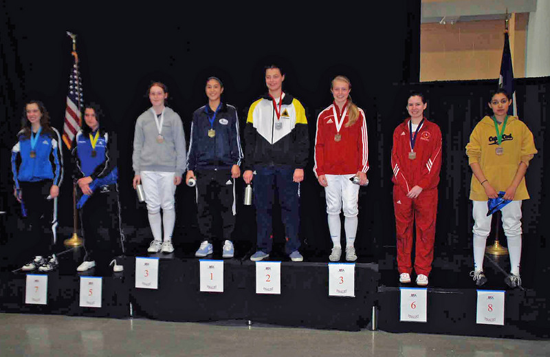 The finalists in Cadet Women's Epee.  From left: Mason Speta (7th), Diana Tsinis (5th), Gina Chiodo (3rd), Nik Nik Ameli (1st), Katharine Holmes (2nd), Catherine Lee (3rd), Ashley Severson (6th), Somer Omar (8th).