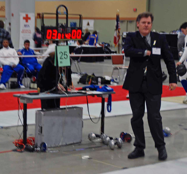 Referee Tim Bookwalter confiscated six epees in one bout.  One weapon was changed because of a loose guard.  The bout started with a score of 4-0.