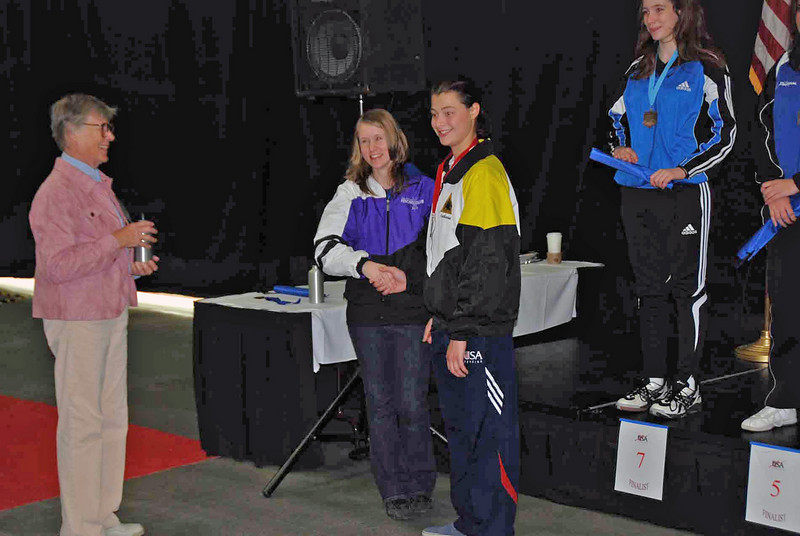 Katharine Holmes receives the silver medal in Cadet Women's Epee.