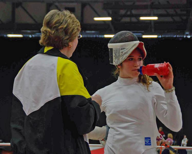 Coach Jean Finkleman advises Ella Barnes during a break in the DE of Division III Women's Epee.