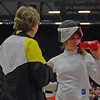 Coach Jean Finkleman advises Ella Barnes during a break in the DE of Division III Women's Epee.