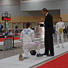 Katharine Holmes prepares to fence Nik Nik Ameli in the gold medal bout of Cadet Women's Epee.