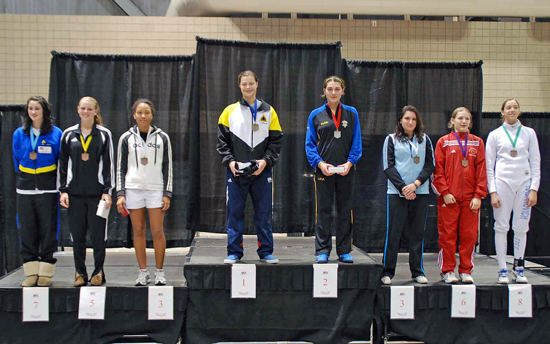 The Cadet Women's Epee finalists.  From left:  Jessica O'Neill-Lyublinsky (7th), Channing Foster (5th), Malinka Hoppe (3rd), Katharine Holmes (1st), Isabella Barna (2nd), Diana Tsinis (3rd), Audrey Abend (6th), Jessie Radanovich (8th).