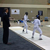 Nina Moiseiwitsch (right) in the DE's in Cadet Women's Epee.  (Notice the CCFC banner in the background.)