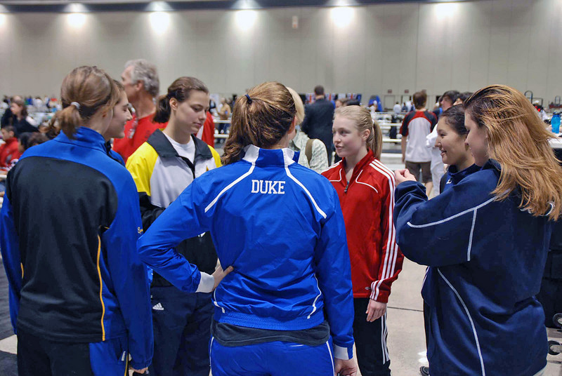 The finalists in Junior Women's Epee gather before the award presentation.