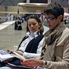 Fencing parents Francoise Sellier-Moiseiwitsch and Fran Barnes before the Cadet Women's Epee.