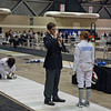 The referee checks Carolyn Townsend's epee in the Y14 DE round.