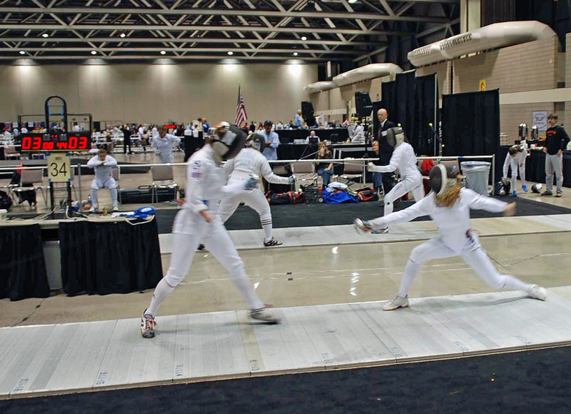 Ella Barnes (right) in the Junior Women's Epee.  Ella was undefeated in the pool and seeded 10th after pools.
