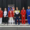 The finalists in Division I Women's Epee.  From left: Courtney Hurley (1st), Kelley Hurley (2nd), Susannah Scanlan (3rd), Maya Lawrence (3rd), Katharine Holmes (5th), Tetyana Novakovska (6th), Simone Barrette (7th), and Audrey Abend (8th).