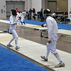 Daniel Wiggins (right) in the Y14 Men's Epee direct elimination.