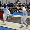 Sam Hayden (right) misses the stop in the Y14 Men's Epee.