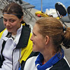 Katharine Holmes relaxes with Maureen Griffin during the Division I Women's Epee.