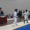 Nina Moiseiwitsch (left) vs Renee Bichette in the Division I Women's Epee direct elimination round.