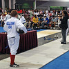 Cameron Sullivan in the direct elimination round of the Y12 Men's Epee.