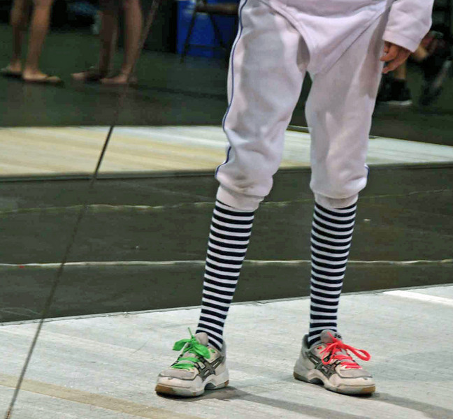 Colorful socks in the Y12 Women's Epee.