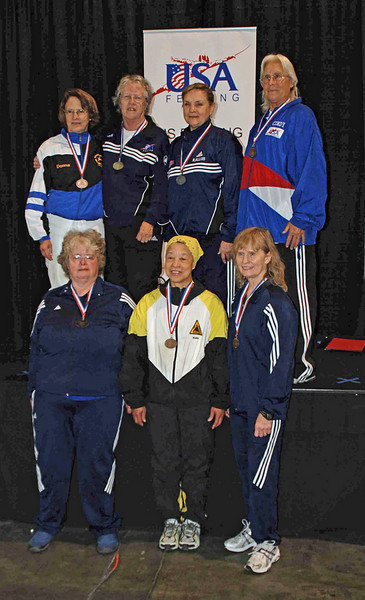 The finalists in Veteran 60-69 Women's Epee.  Bottom row, from left: Karen Brynildsen (7th), Bettie Graham (5th), Patricia Lutton (6th). Top row: Bonnie Aher (3T), Patricia Bedrosian (1st), Diane Kallus (2nd), Cynthia Runyon (3T).