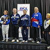 The finalists in Veteran 60-69 Women's Epee.  From left: Karen Brynildsen (7th), Bonnie Aher (3T), Patricia Bedrosian (1st), Diane Kallus (2nd), Cynthia Runyon (3T), Bettie Graham (5th), Patricia Lutton (6th).