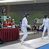 Nina Moiseiwitsch (left) in the direct elimination of the U16 Women's Epee.