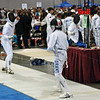 Jacob Drozdowski (left) in the direct elimination round of the Y12 Men's Epee.