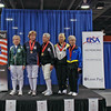 The medalists in Veteran-70+ Women's Foil (from left): Una Jackson (5th), Catherine Maier (3rd), Terry Abrahams (1st), Bettie Graham (2nd), and Judith Evans (3rd).