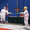 Bettie Graham (right) vs Mary Annavedder in the gold medal bout of Veteran-70+ Women's Epee.