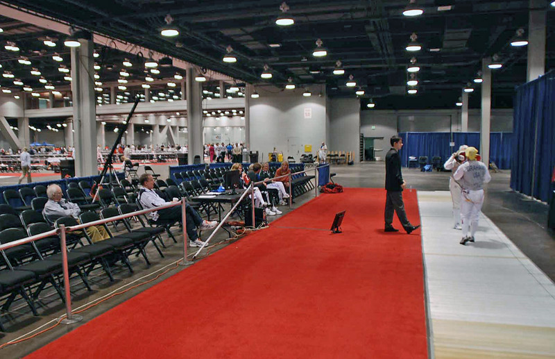 There was not a huge crowd watching the gold medal bout of Veteran-70+ Women's Foil.