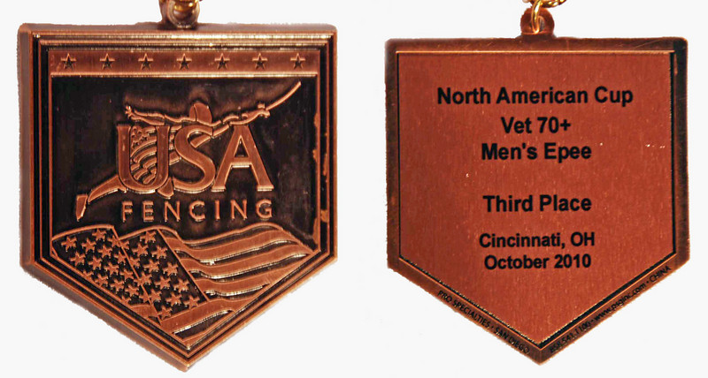 Mark Henry's 3rd place national medal in the Veteran-70+ Men's Epee.
