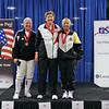 The medalists in Veteran-70+ Women's Epee.  From left: Terry Abrahams (3rd), Mary Annavedder (1st), Bettie Graham (3rd).