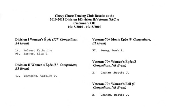 Chevy Chase Fencing Club results at the 2010-2011 NAC A, Cincinnati, OH.