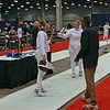 Carolyn Townsend (left) in the Division II Women's Epee DE bout vs Gurnowski.