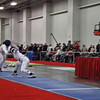 Katharine Holmes (right) vs Sarah Weller in the round of 16 of the Junior Women's Epee.
