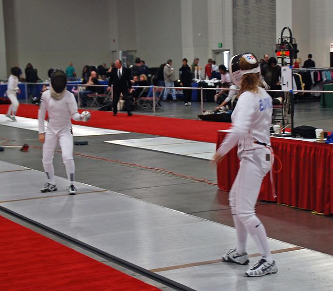 Ella Barnes (right) competes in the Junior Women's Epee.