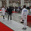Sam Hayden about to start his second DE bout in the Cadet Men's Epee.