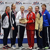 The finalists in Junior Women's Epee.  From left: Sarah Holst (7th), Nina Van Loon (5th), Jessie Radanovich (3rd), Anna Van Brummen (1st), Audrey Abend (2nd), Ashley Severson (3rd), Katharine Holmes (6th), and Courtney Dumas (8th).