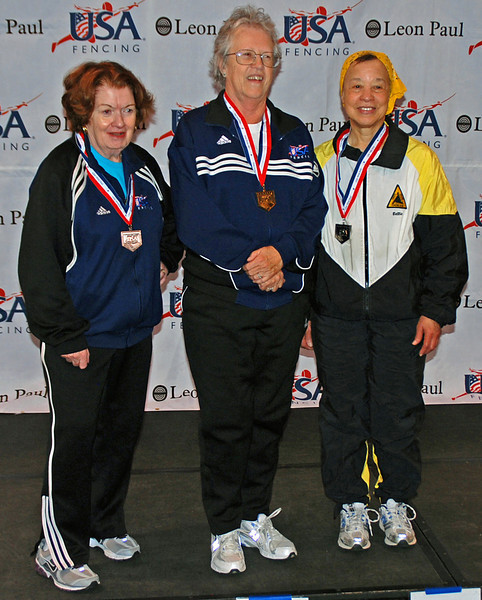 The finalists in Veteran-70+ Women's Epee (from left): Diane Reckling (3rd), Patricia Bedrosian (1st), Bettie Graham (2nd).