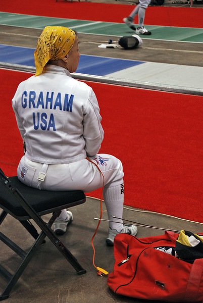 Bettie Graham in the Veteran-70+ Women's Epee.