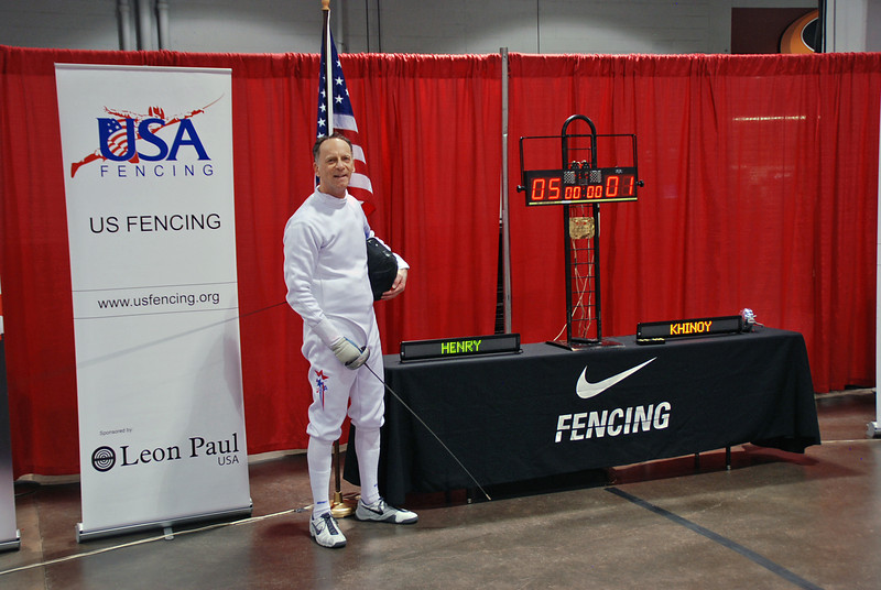 Mark Henry won the semi-final bout of the Veteran-70+ Men's Epee against Stephan Khinoy by a score of 5-1.