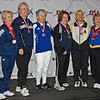 The finalists in Veteran-70+ Women's Foil (from left): Una Jackson (5th), Patricia Bedrosian (3rd), Ellen O'Leary (2nd), Diane Reckling (1st), Bettie Graham (3rd), and Judith Evans (5th).