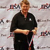 Bill Murphy, armorer and owner of Leon-Paul USA, awards the trophies for the Veteran-70+ Women's Epee.