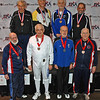 The finalists in Veteran-70+ Men's Epee (from left): Front Row: Richard Dunlop (8th), Carl Herkstroeter (6th), Donald Penner (5th), Robert Baldwin (7th); Back Row: Marcel Miernik (3rd), Mark Henry (2nd), Kazimieras Campe (1st), Stephan Khinoy (3rd).