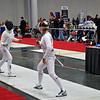 Ella Barnes (right) fences Jessie O'Neill-Lyublinsky in the DE round of the Division I Women's Epee.
