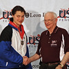 Katharine Holmes receives her 6th place medal from Dan DeChaine.