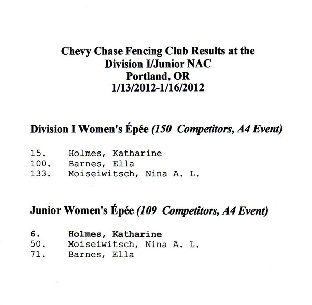 Chevy Chase Fencing Club results at the Portland Division I/Junior NAC.