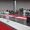 Ella Barnes (right) just scored a touch on Jessie O'Neill-Lyublinsky in the DE round of the Division I Women's Epee.