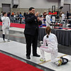 Nina Moiseiwitsch in her second DE of the Junior Women's Epee competes against Sarah Collins.