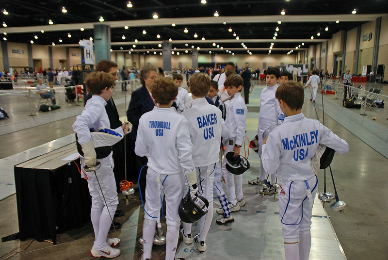 The beginning of the Direct Elimination in the Youth-12 Men's Epee.