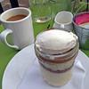 Tiramisu and coffee at Pasture Restaurant.